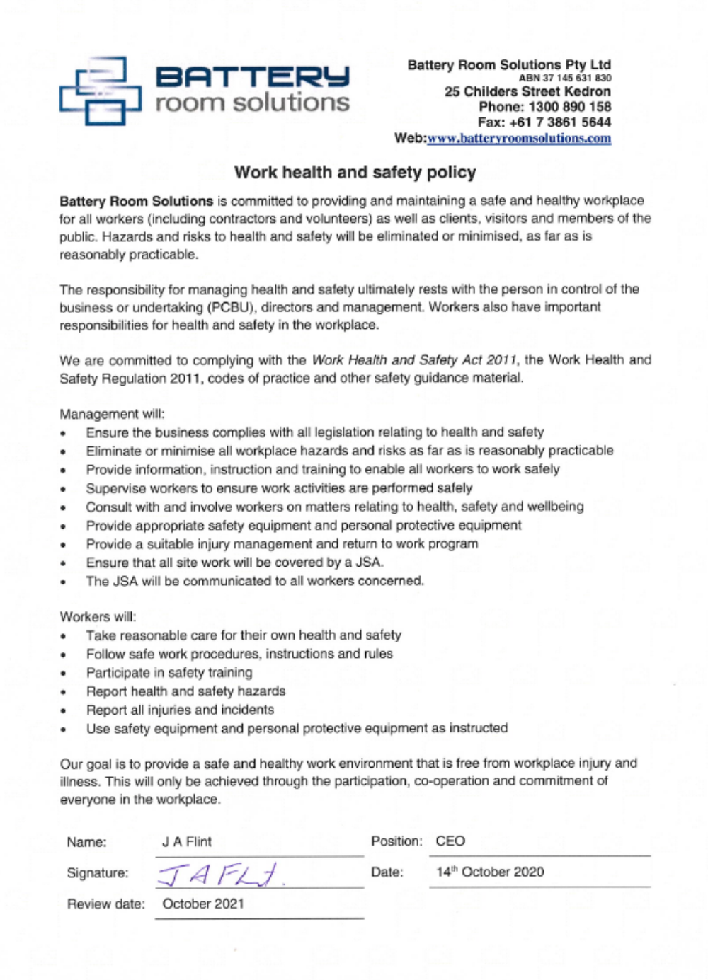 Work Health and Safety Policy 2020